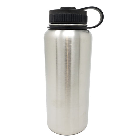 32 oz Double Wall 18/8 Pro-Grade Stainless Vacuum Sealed Big Mouth Water Bottle with Leak-Proof Black Stay-On Cap  | Great For Alkaline Water Storage - Stainless Steel