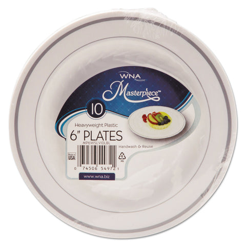 WNA Masterpiece Plastic Plates, 6 in., White w/Silver Accents, Round, 10/Pack