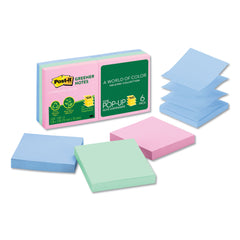 Post-it Greener Notes Recycled Pop-up Notes, 3 x 3, Assorted Helsinki Colors, 100-Sheet, 6/Pack