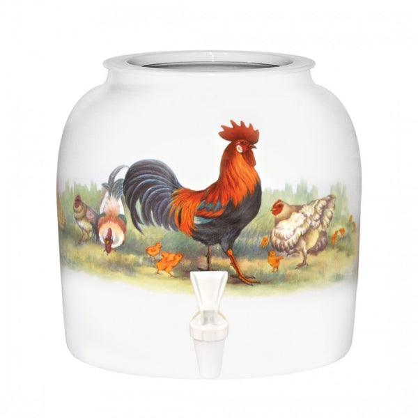 2.5 Gallon Porcelain Water Crock Dispenser With Crock Protector Ring and Faucet - Rooster