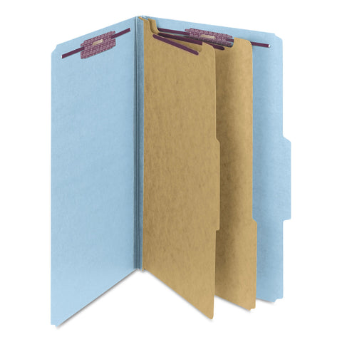 Smead Six-Section Pressboard Top Tab Classification Folders with SafeSHIELD Fasteners, 2 Dividers, Legal Size, Blue, 10/Box - Blue / Legal