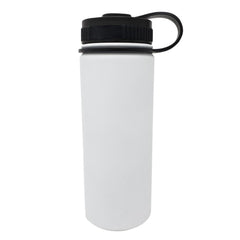 18 oz Double Wall 18/8 Pro-Grade Stainless Vacuum Sealed Big Mouth Water Bottle with Leak-Proof Black Stay-On Cap  | Great For Alkaline Water Storage