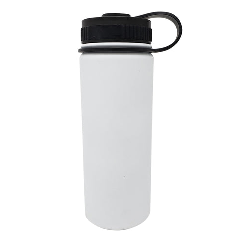 18 oz Double Wall 18/8 Pro-Grade Stainless Vacuum Sealed Big Mouth Water Bottle with Leak-Proof Black Stay-On Cap  | Great For Alkaline Water Storage - White