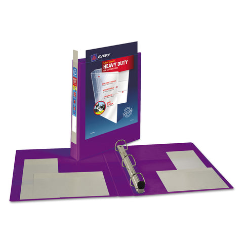 "Avery Heavy-Duty View Binder with DuraHinge and Locking One Touch EZD Rings, 3 Rings, 1"" Capacity, 11 x 8.5, Purple"