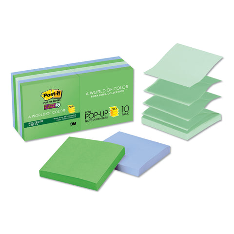 Post-it Pop-up Notes Super Sticky Pop-up Recycled Notes in Bora Bora Colors, 3 x 3, 90-Sheet, 10/Pack