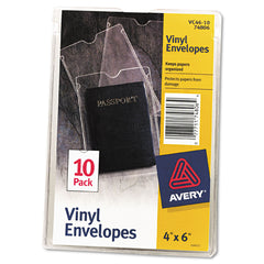 Avery Top-Load Clear Vinyl Envelopes w/Thumb Notch, 4 x 6, Clear, 10/Pack