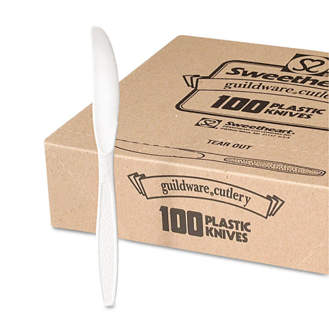 Guildware Heavyweight Plastic Knives, White, 100/Box, 10 Boxes/Carton