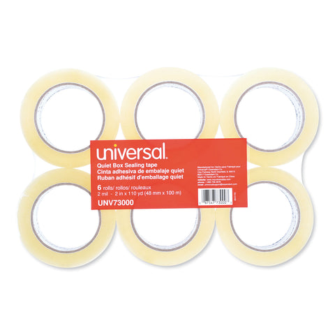 "Universal Quiet Tape Box Sealing Tape, 3"" Core, 1.88"" x 110 yds, Clear, 6/Pack - Clear / 3"""