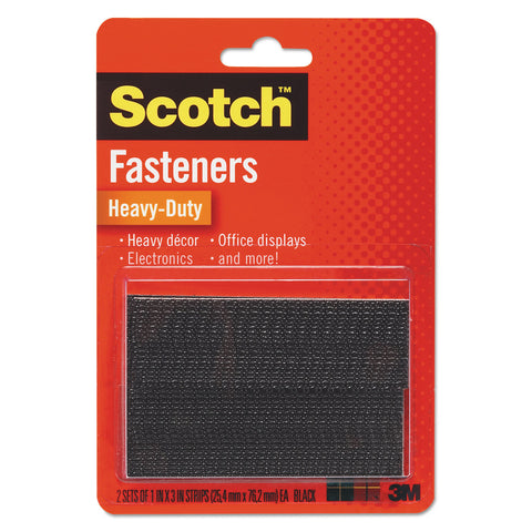 "Scotch Heavy-Duty All-Weather Fasteners, 1"" x 3"", Black, 2/Pack"