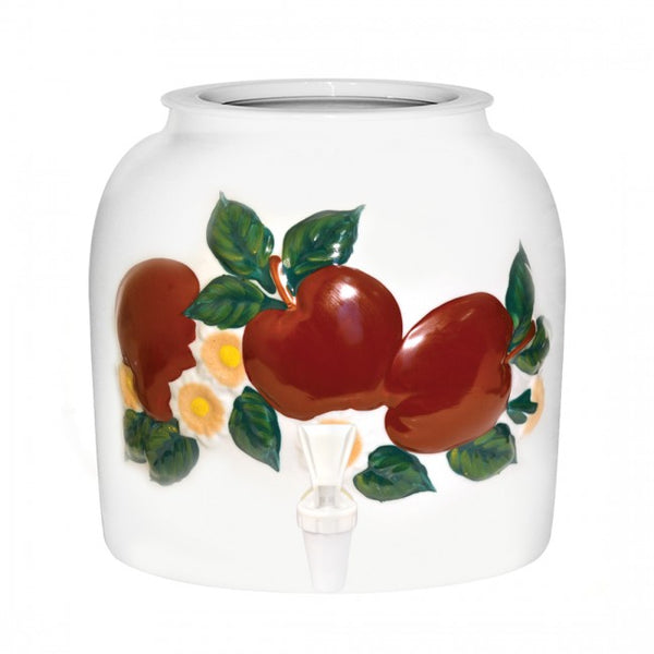 2.5 Gallon Porcelain Water Crock Dispenser With Crock Protector Ring and Faucet - Embossed Apples
