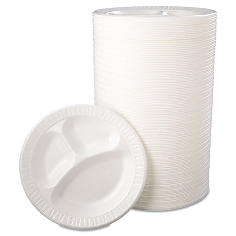 "Laminated Foam Dinnerware, Plate, 3-Comp, 10 1/4"", White, 125/Pk, 4 Pks/Ctn"