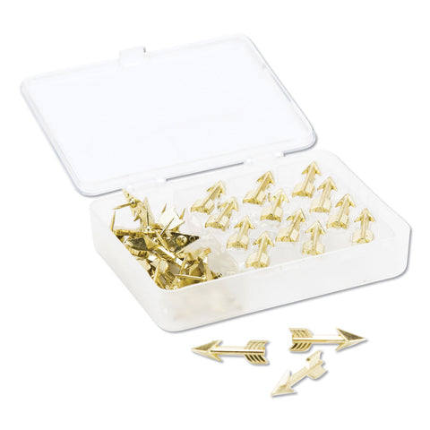 "U Brands Fashion Push Pins, Steel, Gold, 3/8"", 36/Pack - Gold"