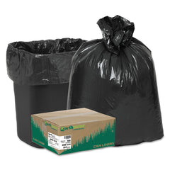 "Earthsense Commercial Linear Low Density Recycled Can Liners, 16 gal, 0.85 mil, 24"" x 33"", Black, 500/Carton - Black"