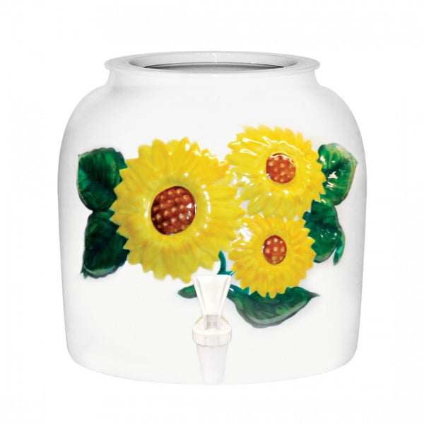 2.5 Gallon Porcelain Water Crock Dispenser With Crock Protector Ring and Faucet - Embossed Sunflowers