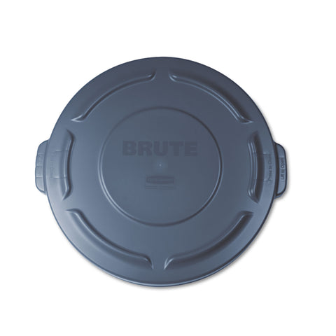 "Rubbermaid Commercial Flat Top Lid for 20 gal Round BRUTE Containers, 19.88"" diameter, Gray"