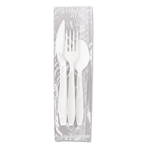 Dart Reliance Medium Heavy Weight Cutlery Kit: Knife/Fork/Spoon, White, 500 Packs/CT - White