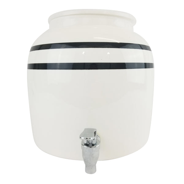 2.5 Gallon Porcelain Water Crock Dispenser With Crock Protector Ring and Faucet - Black Stripe