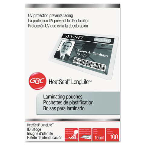 "GBC LongLife Thermal Laminating Pouches, 10 mil, 2.56"" x 3.75"", Gloss Clear, 100/Box"