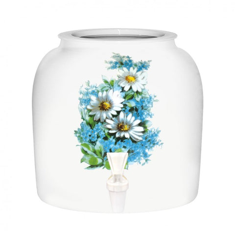 2.5 Gallon Porcelain Water Crock Dispenser With Crock Protector Ring and Faucet - White Daisy