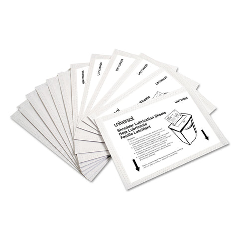 "Universal Shredder Lubricant Sheets, 5.5"" x 2.8"", 24/Pack"