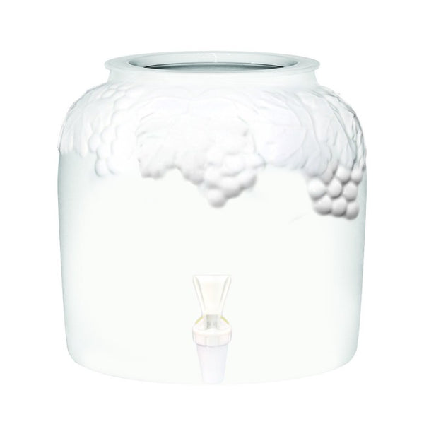 2.5 Gallon Porcelain Water Crock Dispenser With Crock Protector Ring and Faucet - Embossed White Grape Band