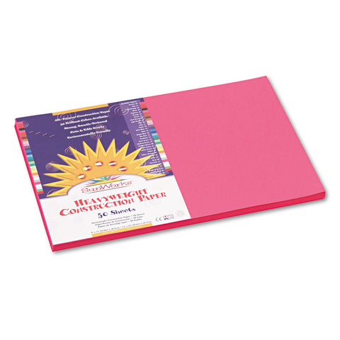 SunWorks Construction Paper, 58lb, 12 x 18, Hot Pink, 50/Pack