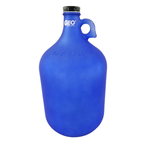 1 Gallon Glass Bottle with Ring Holder - Frost Dark Blue