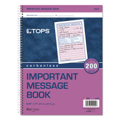 TOPS Telephone Message Book, Fax/Mobile Section, 5 1/2 x 3 3/16, Two-Part, 200/Book