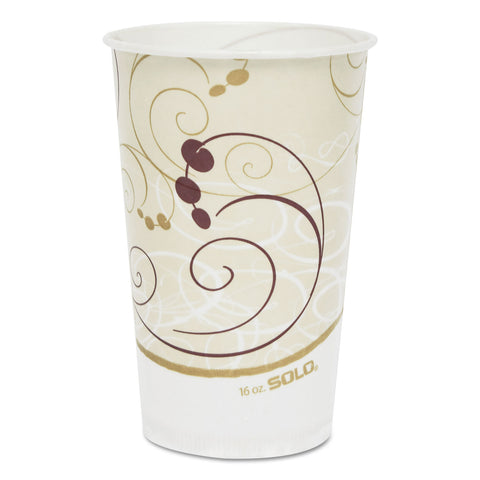 Dart Symphony Treated-Paper Cold Cups, 16oz, White/Beige/Red, 50/Bag, 20 Bags/Carton - White/Beige/Red