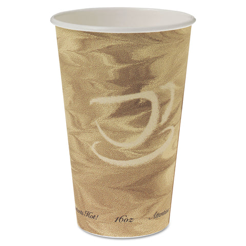 Dart Mistique Hot Paper Cups, 16oz, Brown, 50/Sleeve, 20 Sleeves/Carton - Brown