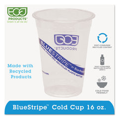 BlueStripe 25% Recycled Content Cold Cups, 16 oz, Clear/Blue, 50/Pk, 20 Pk/Ct