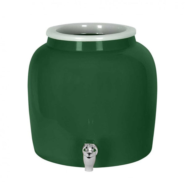 2.5 Gallon Porcelain Water Crock Dispenser With Crock Protector Ring and Faucet - Solid Green