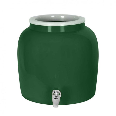 2.5 Gallon Porcelain Water Crock Dispenser With Crock Protector Ring and Faucet - Green