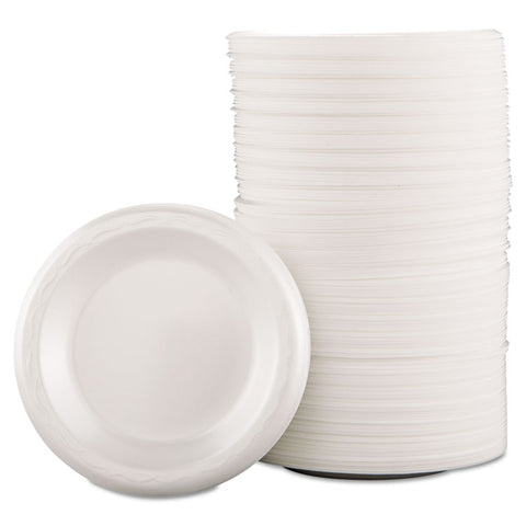 "Genpak Foam Dinnerware, Plate, 6"" dia, White, 125/Pack, 8 Packs/Carton"