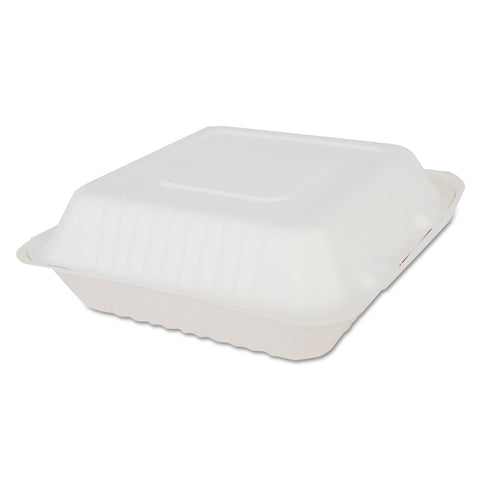 SCT ChampWare Molded-Fiber Clamshell Containers, 9 x 9 x 3, White, 200/Carton