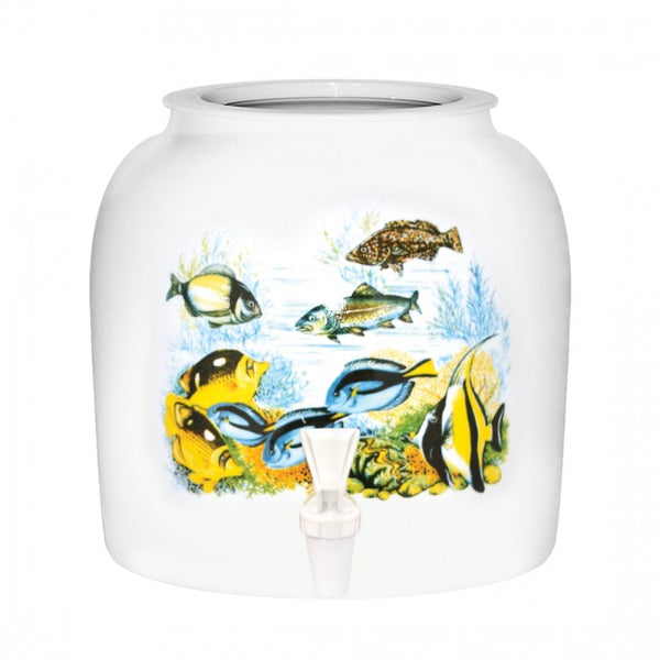 2.5 Gallon Porcelain Water Crock Dispenser With Crock Protector Ring and Faucet - Under The Sea Tropical Fishes