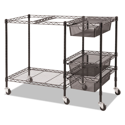 Vertiflex Mobile File Cart w/Drawers, 38w x 15.5d x 28h, Black