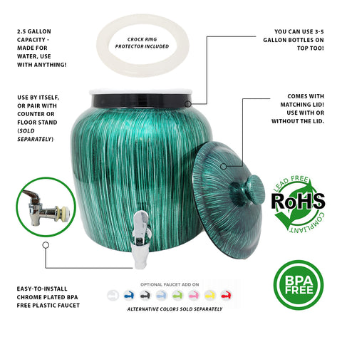 Plastic Spigot Faucet and Lid - Vertical Green Stripe