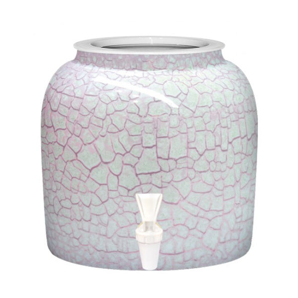 2.5 Gallon Porcelain Water Crock Dispenser With Crock Protector Ring and Faucet - Pink Detailed