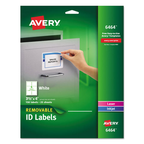Avery Removable Multi-Use Labels, Inkjet/Laser Printers, 3.33 x 4, White, 6/Sheet, 25 Sheets/Pack - White / 3.33 x 4