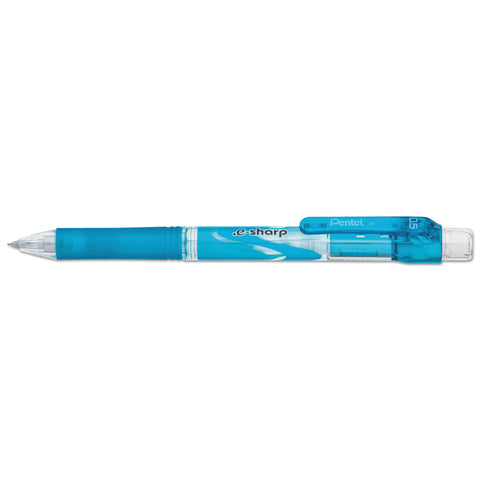 Pentel .e-Sharp Mechanical Pencil, 0.5 mm, HB (#2.5), Black Lead, Sky Blue Barrel, Dozen