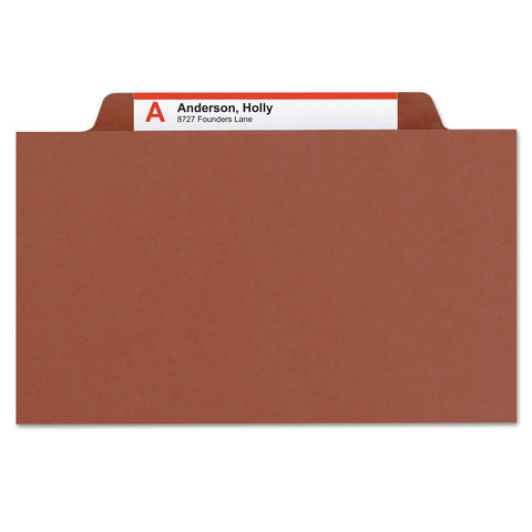 Smead 100% Recycled Pressboard Classification Folders, 3 Dividers, Letter Size, Red, 10/Box - Red / Letter