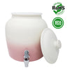 Premium Lead-Free Porcelain Beverage Dispenser With Matching Lid - 2.5 Gallons - Comes with Crock Ring Protector, No-Drip Chrome Painted BPA-Free Plastic Spigot Faucet and Lid - Gradient Pink