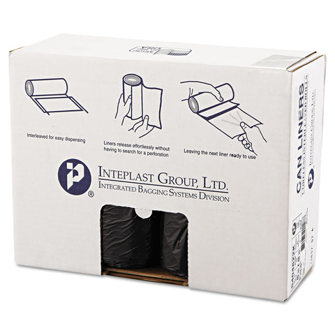 "Inteplast Group High-Density Interleaved Commercial Can Liners, 45 gal, 22 microns, 40"" x 48"", Black, 150/Carton - Black"