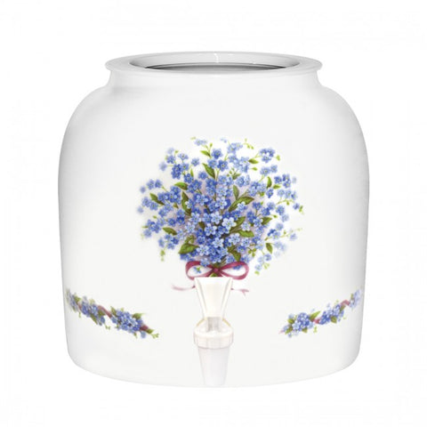 2.5 Gallon Porcelain Water Crock Dispenser With Crock Protector Ring and Faucet - Blue Forget Me Not