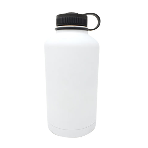 64 oz Double Wall 18/8 Pro-Grade Stainless Vacuum Sealed Big Mouth Water Bottle with Leak-Proof Black Stay-On Cap  | Great For Alkaline Water Storage - White