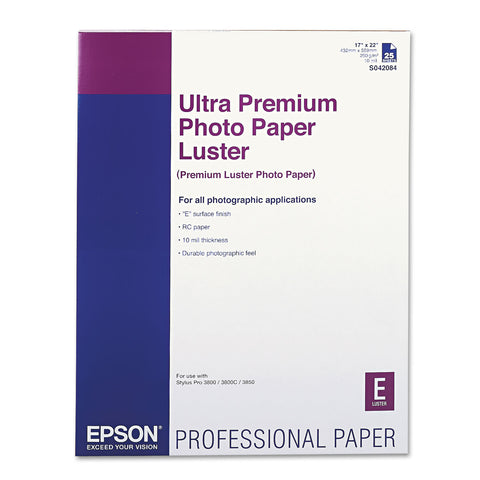 Epson Ultra Premium Photo Paper, 10 mil, 17 x 22, Luster White, 25/Pack