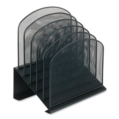 "Safco Onyx Mesh Desk Organizer with Tiered Sections, 5 Sections, Letter to Legal Size Files, 11.25"" x 7.25"" x 12"", Black - Black / Letter to Legal"