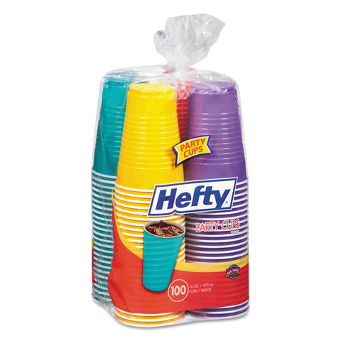 Hefty Easy Grip Disposable Plastic Party Cups, 16 oz, Assorted, 100/Pack