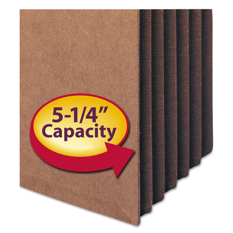 "Smead Redrope TUFF Pocket Drop-Front File Pockets w/ Fully Lined Gussets, 5.25"" Expansion, Legal Size, Redrope, 10/Box - Redrope / Legal"